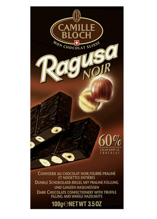 Chocolat noir fourré praliné et noisettes entières