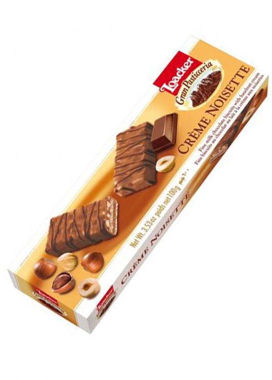 Fins biscuits chocolat lait à la crème aux noisettes