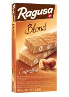 Chocolat blanc au lait en poudre caramélisé fourré praliné et noisettes entières